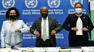 The UN's resident co-ordinator and head of the UN in South Africa, Nardos Bhekele-Thomas, KZN Premier Sihle Zikalala and chief executive of the Durban Chamber of Commerce and Industry Palesa Phili. Picture: Supplied
