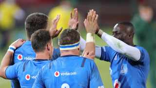 The Vodacom Bulls celebrates a try during the 2021 Rainbow Cup. Photo: Samuel Shivambu/BackpagePix