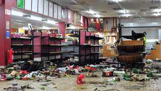The aftermath of the looting which took place on Monday night at a liquor store at Mams Mall. Picture: Oupa Mokoena/African News Agency (ANA)