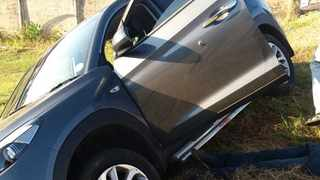 The driver of the hijacked iX35 veered off the road and crashed into a park in Shallcross. Picture supplied
