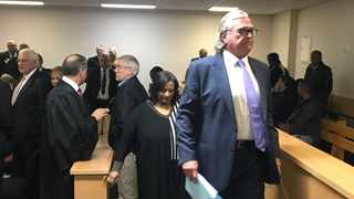The fraud and money laundering trial involving former Eastern Province Rugby boss Cheeky Watson (front) and his three co-accused hit a snag after the matter was postponed in the Port Elizabeth Commercial Crimes Court on Monday. PHOTO: Raahil Sain/ANA