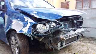 The front of Mihlali Mbizo's blue VW Polo. Picture: Supplied