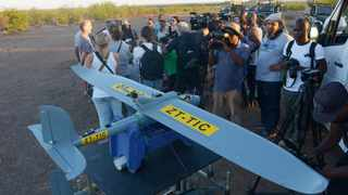 The media ia briefed on the UAV, unmanned aerial vehicle. New drone technology with heat sensitive cameras is being used to fight against wildlife crime in the Kruger National Park A demonstration was held near the Letaba Rest Camp. Picture: Karen Sandison 070216