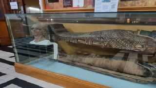 The mummy of Peten Amun at the Durban Natural Science Museum.