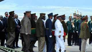 The remains of Nelson Mandela arriving at Mthatha Airport in Eastern Cape.14/12/2013 GCIS