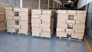 The shredding of 12 million illegal cigarettes with a market value of R18 million took place in Cape Town this morning. Picture: Supplied