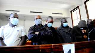 The six men who have been charged with the murder of health official Babita Deokaran appeared at the Johannesburg Magistrate's Court. Picture: Nokuthula Mbatha/African News Agency (ANA)