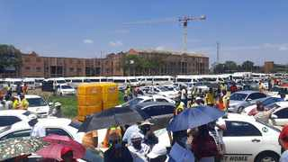 The taxi operators embarked on the protest over their unhappiness with the Covid-19 relief funds promised by Transport Minister Fikile Mbalula. Picture: Oupa Mokoena