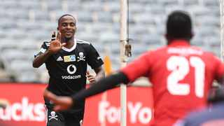 Thembinkosi Lorch of Orlando Pirates celebrates goal during the 2020 MTN8 Semi Final 1st Leg match between Orlando Pirates and Kaizer Chiefs on the 31 October 2020 at Orlando Stadium, Soweto Pic Sydney Mahlangu/BackpagePix