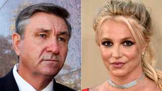 This combination photo shows Jamie Spears, father of singer Britney Spears, leaving the Stanley Mosk Courthouse in Los Angeles on Oct. 24, 2012, left, and singer Britney Spears at the Los Angeles premiere of 'Once Upon a Time in Hollywood' on July 22, 2019. Picture: AP