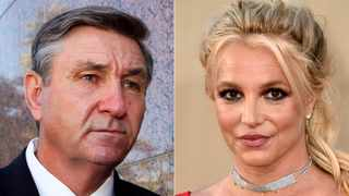 """This combination photo shows Jamie Spears, father of singer Britney Spears, leaving the Stanley Mosk Courthouse in Los Angeles on Oct. 24, 2012, left, and singer Britney Spears at the Los Angeles premiere of """"Once Upon a Time in Hollywood"""" on July 22, 2019. Picture: AP"""
