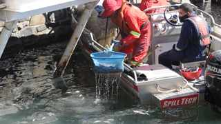 Thousands of dead Mullets can be seen floating in the V&A Waterfront leaving a very strong smell in the air. Marine Wildlife Management teams and Spill Tech contract workers are on the scene scooping up the floating fish. Picture Henk Kruger/African News Agency (ANA)