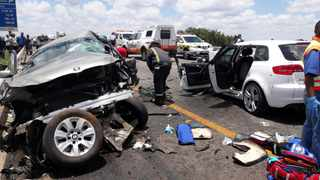 Three people were killed, including a two-year-old boy, and six other people were injured, some critically, when two cars collided head-on on the R558 above the N1 in Sebokeng, Vereeniging on Saturday. Photo: ER24