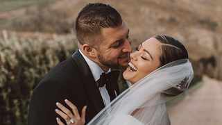 Tim Tebow and Demi-Leigh on their wedding day. Picture: Instagram