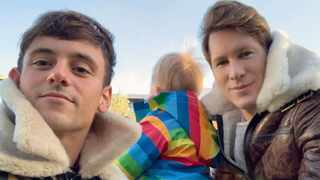 Tom Daley, Dustin Lance Black and their son Robert Ray Black-Daley. Picure: Instagram