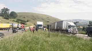 Trucks being stopped along the N3 highway yesterday.     Facebook