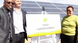 Tshililo Michael Masutha, Deputy minister of Science and Technology, Mikael Karlsson, ceo of Globeleq and Sylvia Lucas, NC Premier during the official launch of the Droogfontein Solar Plant. Picture: Soraya Crowie
