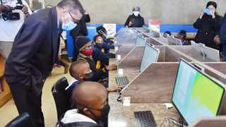 Tshwane mayor Randall Williams inspects the new computer lab at Patogeng Primary School during the launch of the facility yesterday. Picture: Thobile Mathonsi African News Agency (ANA)