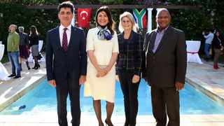Turkish consul-general, Sinan Yeşildağ hosted an exclusive Eid celebration yesterday at his private residence in Constantia. With him are Ambassador of the Turkish Republic Elif Çomoğlu Ülgen, Beverley Ann Chieffer - deputy speaker of Western Cape Provincial Parliament and Mayor Dan Plato. BRENDAN MAGAAR African News Agency (ANA)