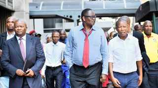 UDM leader Bantu Holomisa, former Cosatu general secretary Zwelinzima Vavi and EFF leader Julius Malema at the high court in Pretoria, where a full bench is hearing an application by President Jacob Zuma to interdict the release of a report on state capture. Picture: Masi Losi