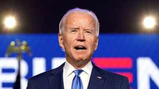 US Democratic presidential nominee Joe Biden speaks about election results in Wilmington, Delaware. Picture: Kevin Lamarque/Reuters