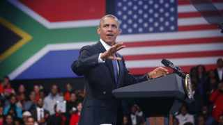 US President Barack Obama participates in a town hall-style meeting with young African leaders at the University of Johannesburg campus in Soweto. Picture: Jason Reed