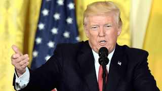 US President Donald Trump speaks speaks at the White House in Washington. Picture: AP