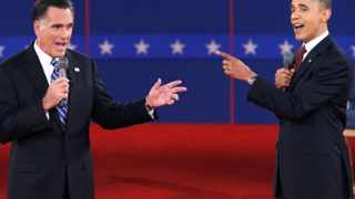 US Republican presidential nominee Mitt Romney and US President Barack Obama speak directly to each other during the second US presidential debate.