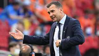 Ukraine coach Andriy Shevchenko reacts during their Euro 2020 game against the Netherlands. Photo: John Thys/Reuters