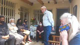 Val Boje's husband Roy Devenish speaks about his wife at a gathering with her colleagues. Picture: Goitsemang Tlhabye