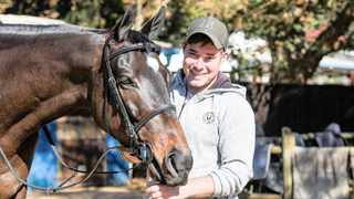 Vardy, a favourite for the Independent on Saturday Drill Hall Stakes, with trainer Adam Marcus at Summerveld this week. Candiese Lenferna