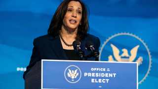 Vice President-elect Kamala Harris speaks at a news conference in Wilmington, Delaware. Picture: Demetrius Freeman/Washington Post