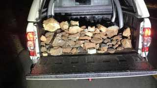 WELL DONE: One four bakkies used in the clean up campaign to remove rocks on the N12.