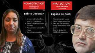 Whistleblower Babita Deokaran was afforded no protection by the State, while apartheid-era assassin Eugene de Kock was placed in a safe house and paid a salary. Graphic: Viasen Soobramoney/African News Agency (ANA)