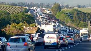 #BlackMonday protesters form a convoy from Stellenbosch into Cape Town on Monday morning. Photo: Twitter
