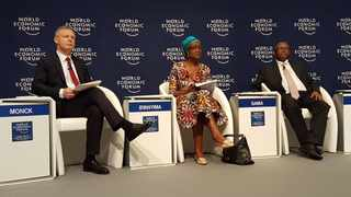 From left, Adrian Monck, WEF's head of public and social engagement, and WEF Africa co-chairs, Oxfam chief Winnie Byanyima and head of Transnet Siyabonga Gama PICTURE Siobhan Cassidy