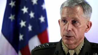 General Thomas D Waldhauser, the commander of the United States Africa Command, holds a news conference at Camp Lemonnier in Ambouli, Djibouti. File picture: Jonathan Ernst/Reuters