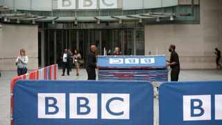 BBC workers place barriers near to the main entrance of the BBC headquarters and studios in Portland Place, London. File picture: Peter Nicholls/Reuters