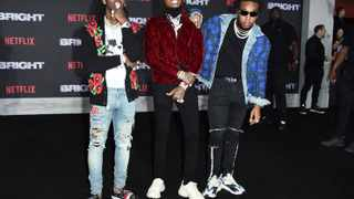 "Offset, from left, Quavo and Takeoff, of Migos, arrive at the U.S. premiere of ""Bright"" at the Regency Village Theatre. Picture: AP"