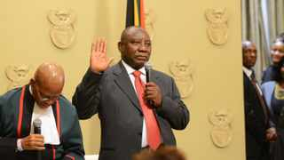 Cape Town 180215-   Cyril Ramaphosa ,the Fifht President of the country is sworn in as the President of South Africa by Chief Justice Mogoeng Mogoeng swears in Parliament.  FILE PHOTO: Cindy Waxa/African News Agency/ANA