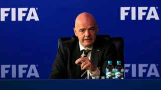 FIFA President Gianni Infantino speaks during a news conference after a FIFA Council meeting in Bogota, Columbia on Monday. Photo: REUTERS/Jaime Saldarriaga