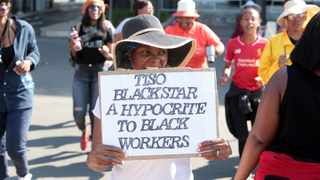 Tiso Blackstar employees are seen protesting outside the state capture  commission of inquiry. Picture: Nhlanhla Phillips/ African News Agency (ANA)