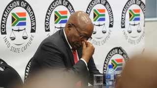 Former President Jacob Zuma appears on his first day at the Zondo Commission of Inquiry into State Capture. Picture: Karen Sandison / African News Agency (ANA)