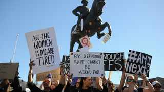 Protesters voice their anger against gender based violence infront of Parliament. Picture Henk Kruger/African News Agency (ANA)