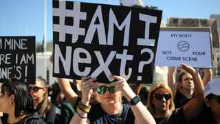 Protesters continue to voice their anger against gender-based violence in front of Parliament. Picture: Henk Kruger/African News Agency (ANA)