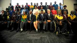 Angie Motshekga, the Minister of educationand other officials with the Top learners for the Class of 2019 at a breakfast with the Top-Achieving learners and parents. Picture: Karen Sandison/African News Agency(ANA)
