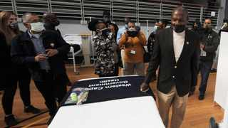 Health Minister Zweli Mkhize (right) visits the field hospital at the Thusong multipurpose centre  in Khayelitsha, Cape Town. Picture: Armand Hough/African News Agency (ANA)