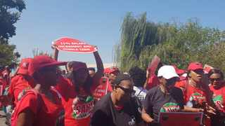 Sars workers belonging to unions Nehawu are protesting at the Sars  Campus Alberton. The unions are demanding an 11,4 percent hike, while Sars is offering 7 percent (Pics: Thuli Mbatha/African News Agency)