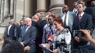 Former KwaZulu-Natal Hawks boss Johan Booysen and members of the Cato Manor special investigating unit outside the Durban High Court on Wednesday. File photo: African News Agency (ANA).