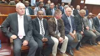Former KwaZulu-Natal Hawks' boss, Johan Booysen, and members of the former Cato Manor special investigating unit in the Durban High Court. Picture: African News Agency (ANA).